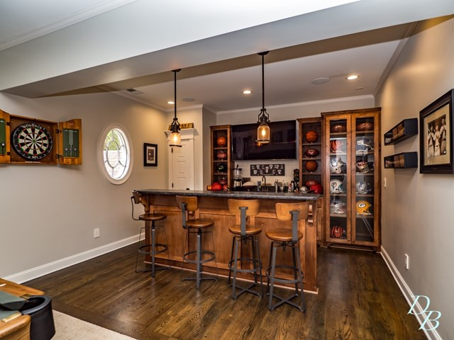 Bar with hardwood flooring